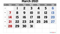 Free Calendar March 2021 Printable