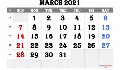 Free Editable March 2021 Calendar