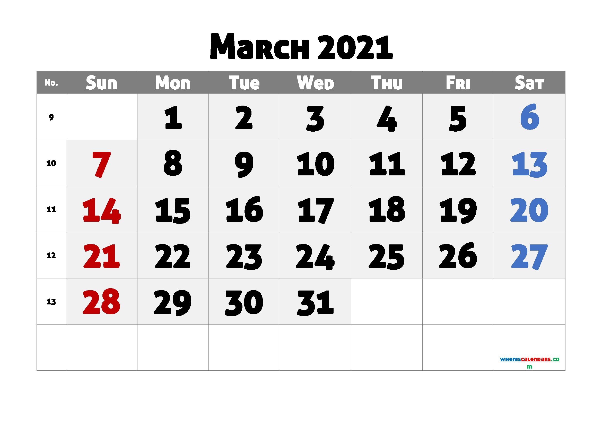 Editable March 2021 Calendar Free