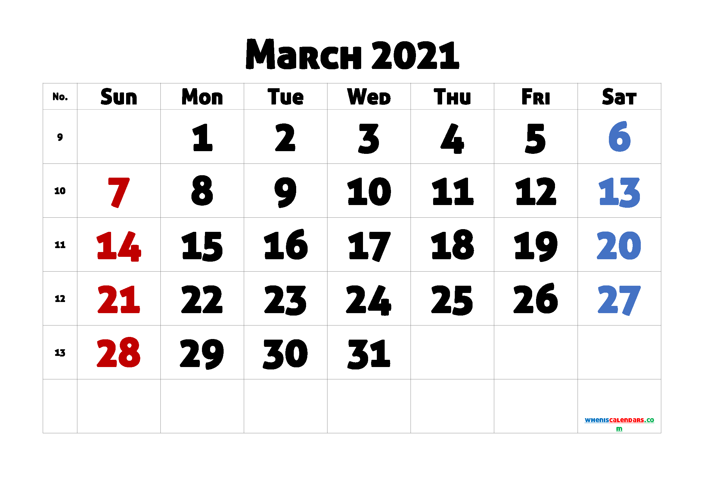 Printable March 2021 Calendar for Free