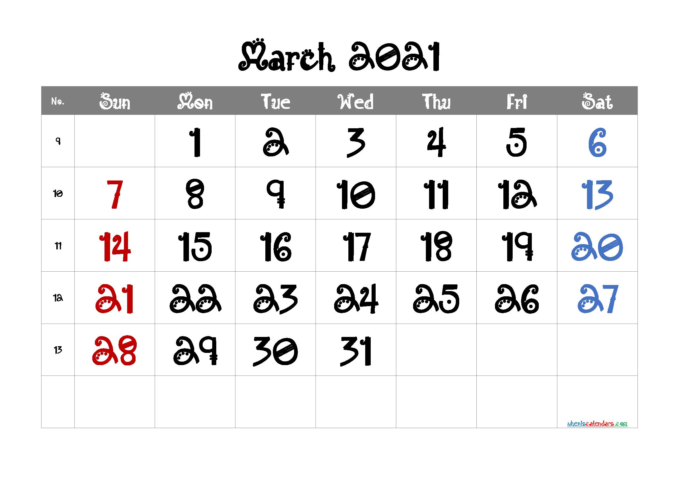 Printable Calendar March 2021