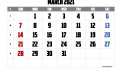 March 2021 Calendar Printable Free
