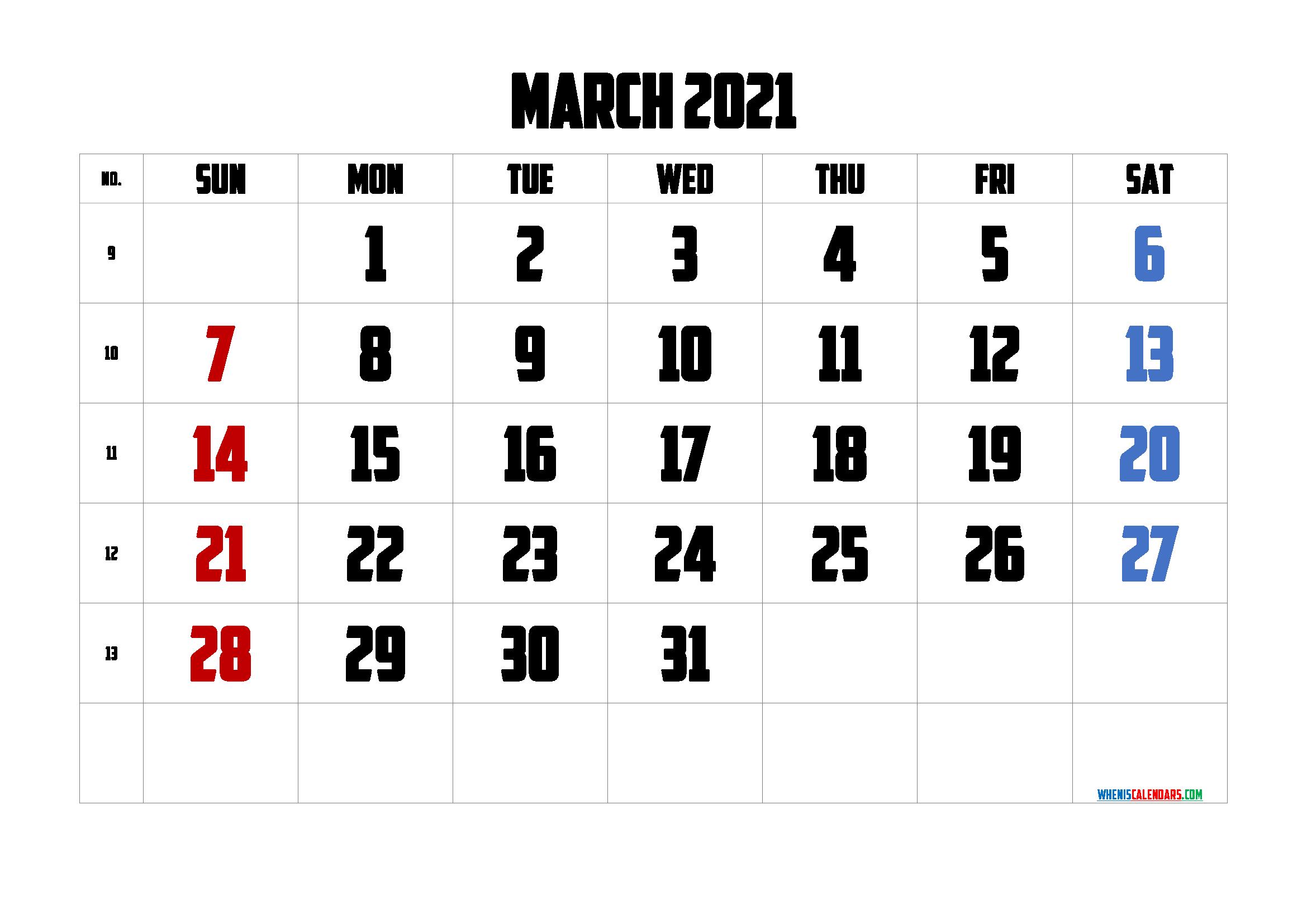 Calendar March 2021 Printable Free