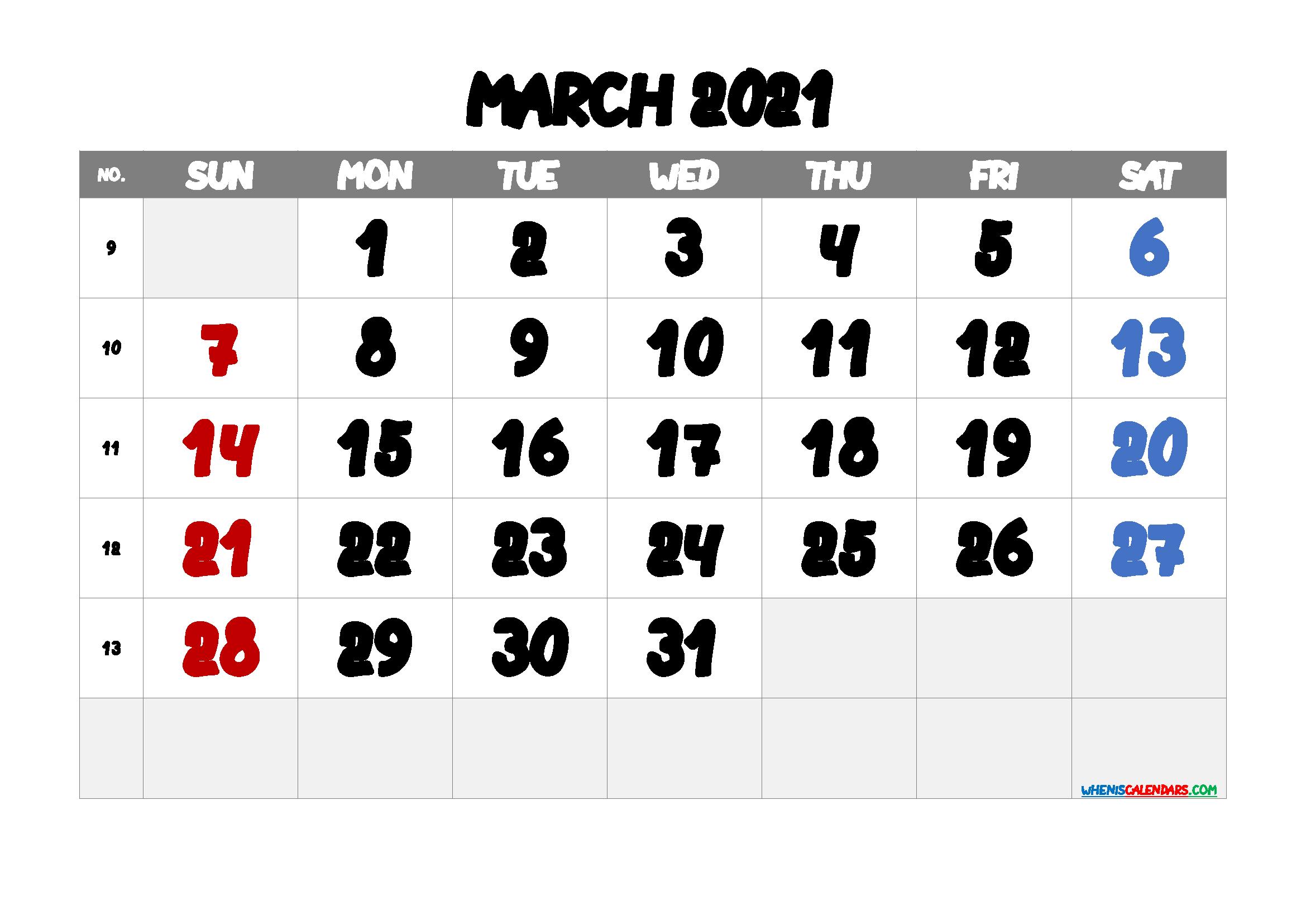 Printable March 2021 Calendar Free