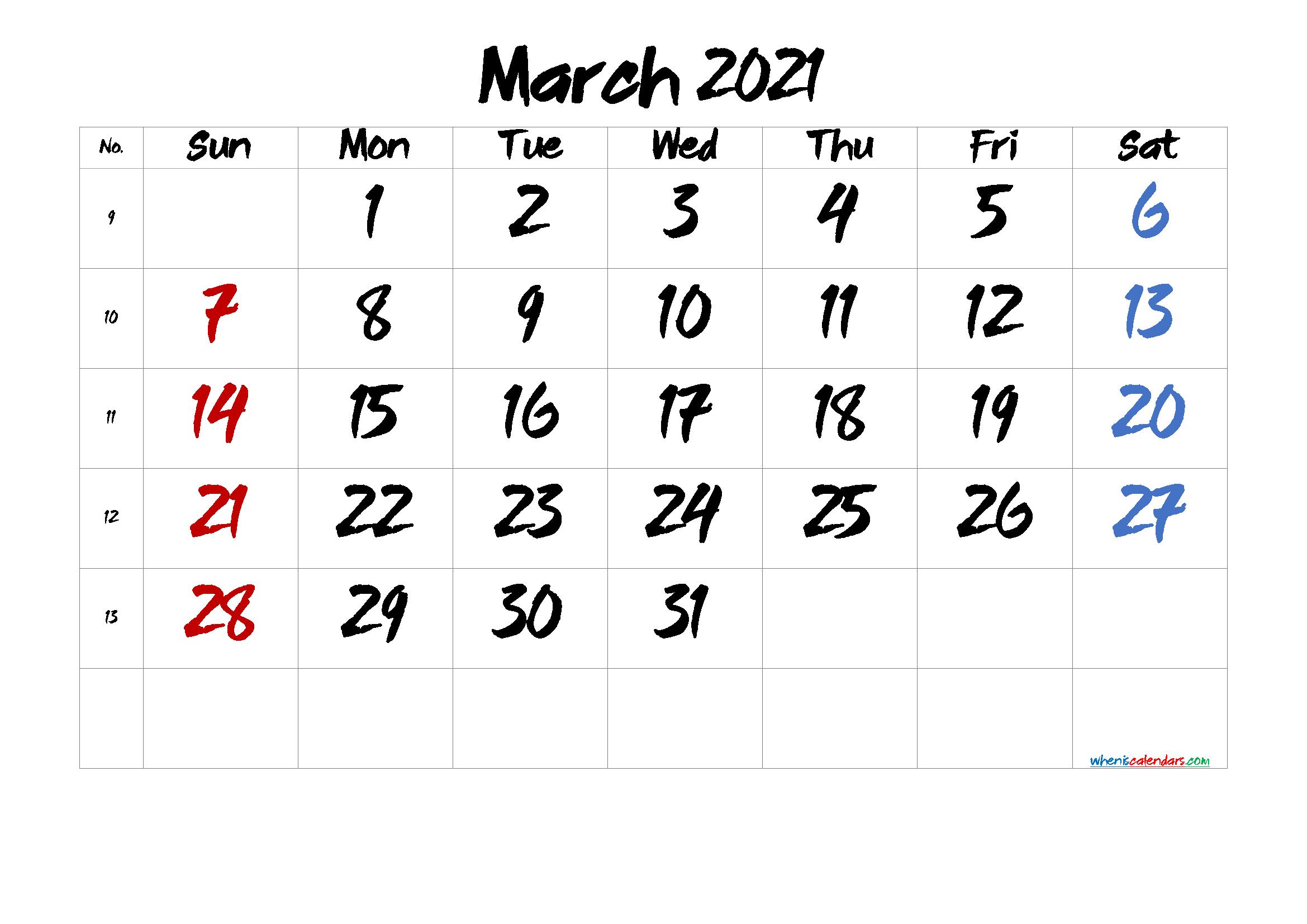 Free March 2021 Calendar Printable