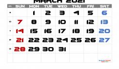 Calendar March 2021 Free Printable
