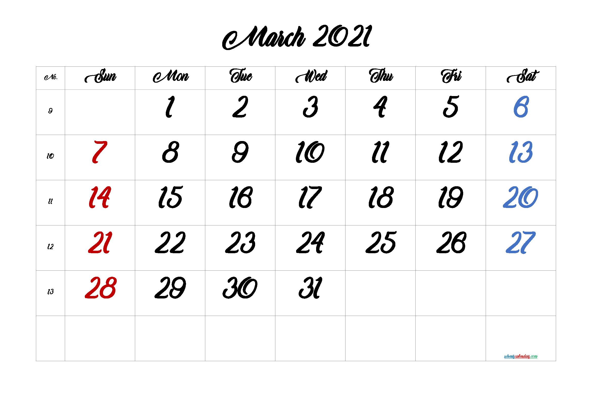 Free Printable Calendar March 2021 2022 and 2023