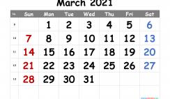 Free Printable March 2021 Calendar