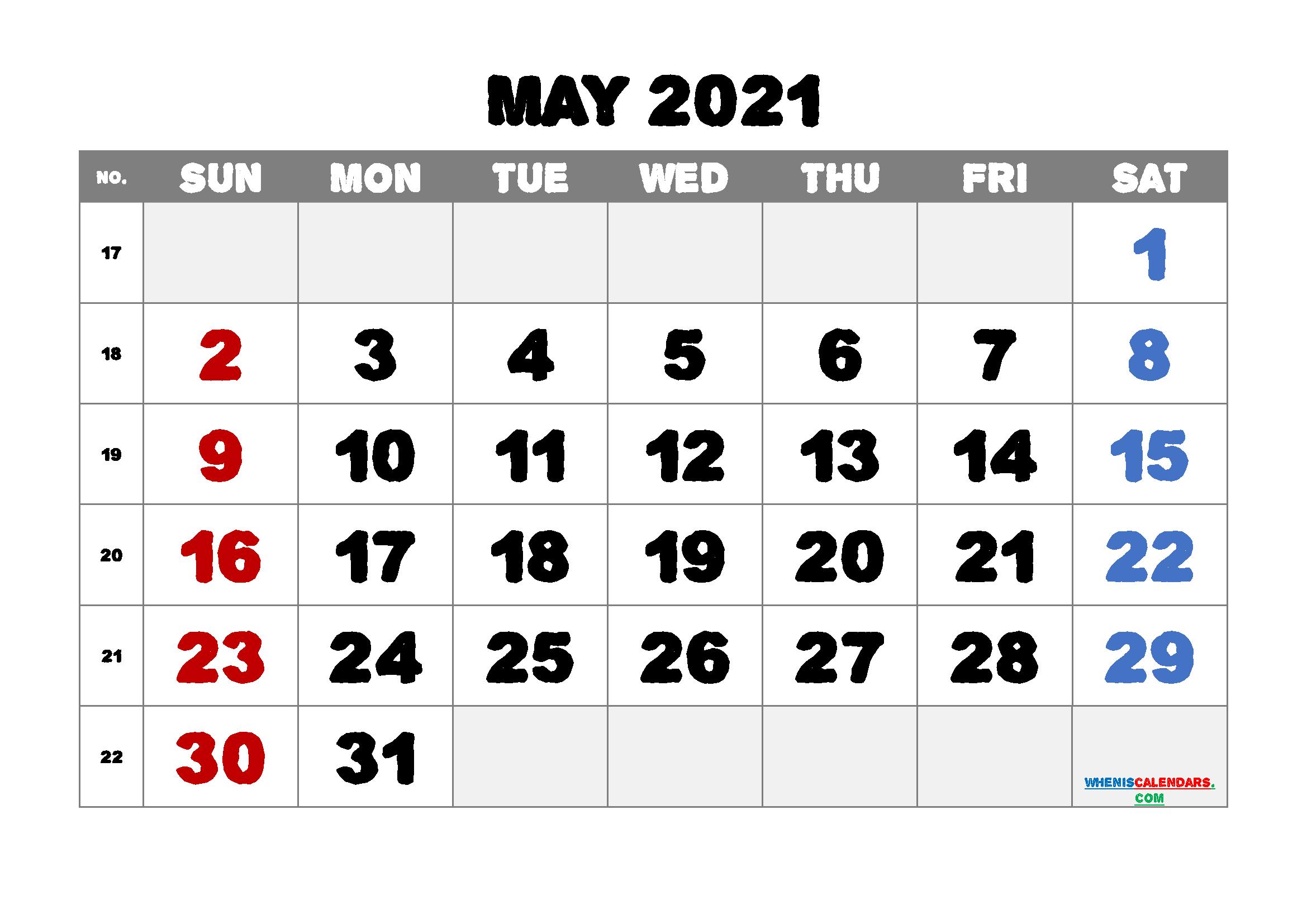 Printable May 2021 Calendar PDF