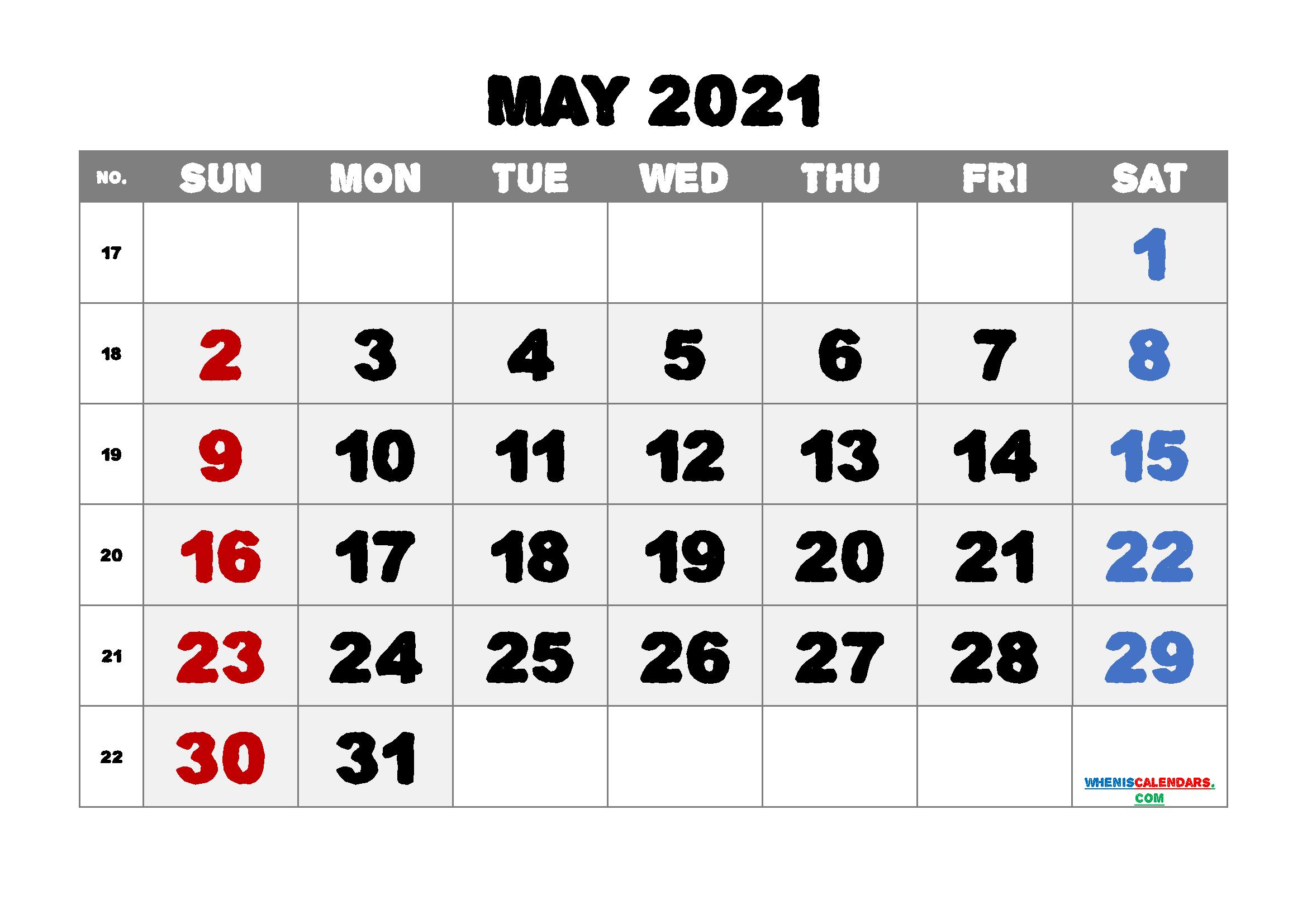 Printable May 2021 Calendar for Free