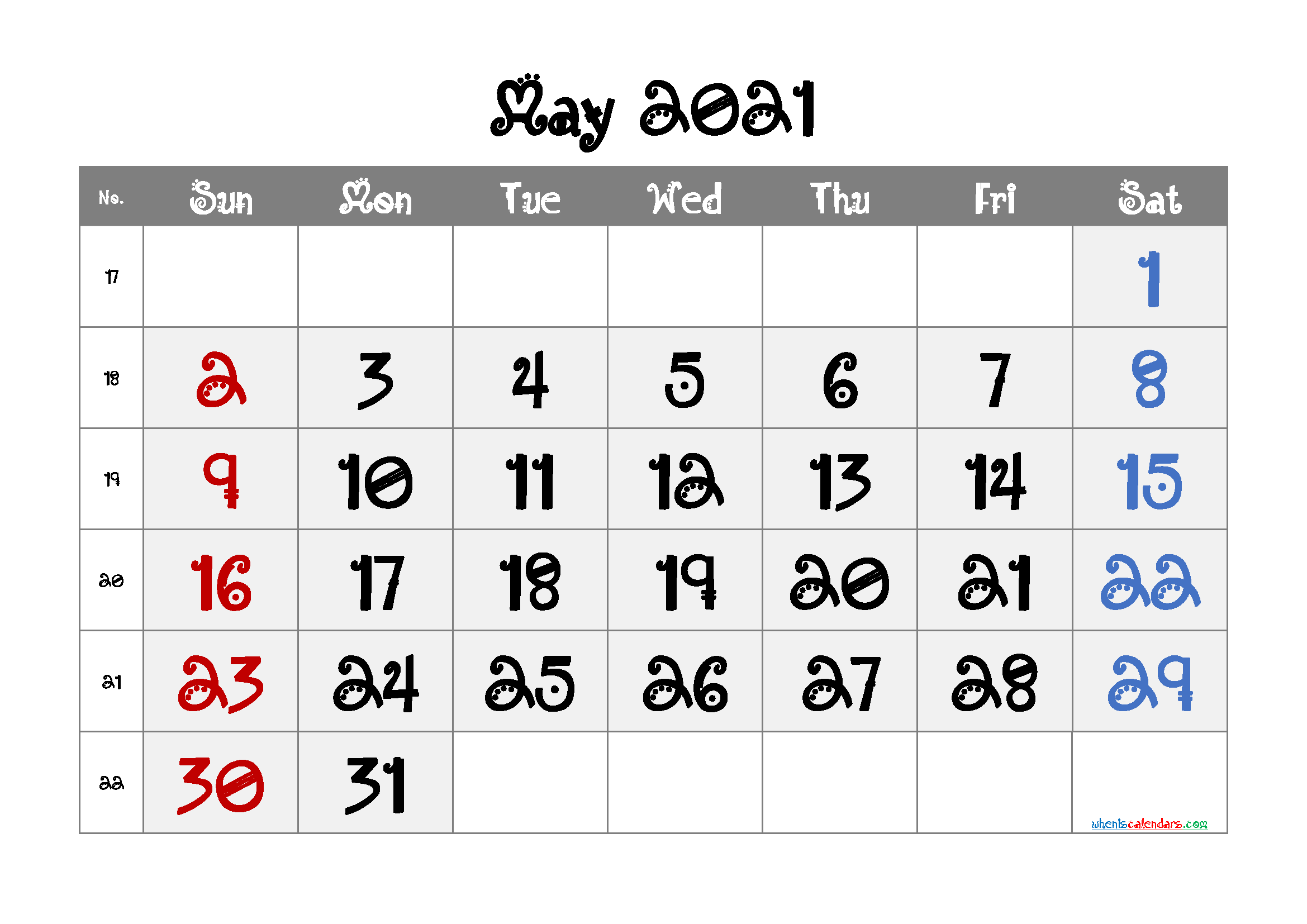 May 2021 Printable Calendar Free