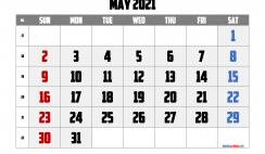 Free Calendar May 2021 Printable