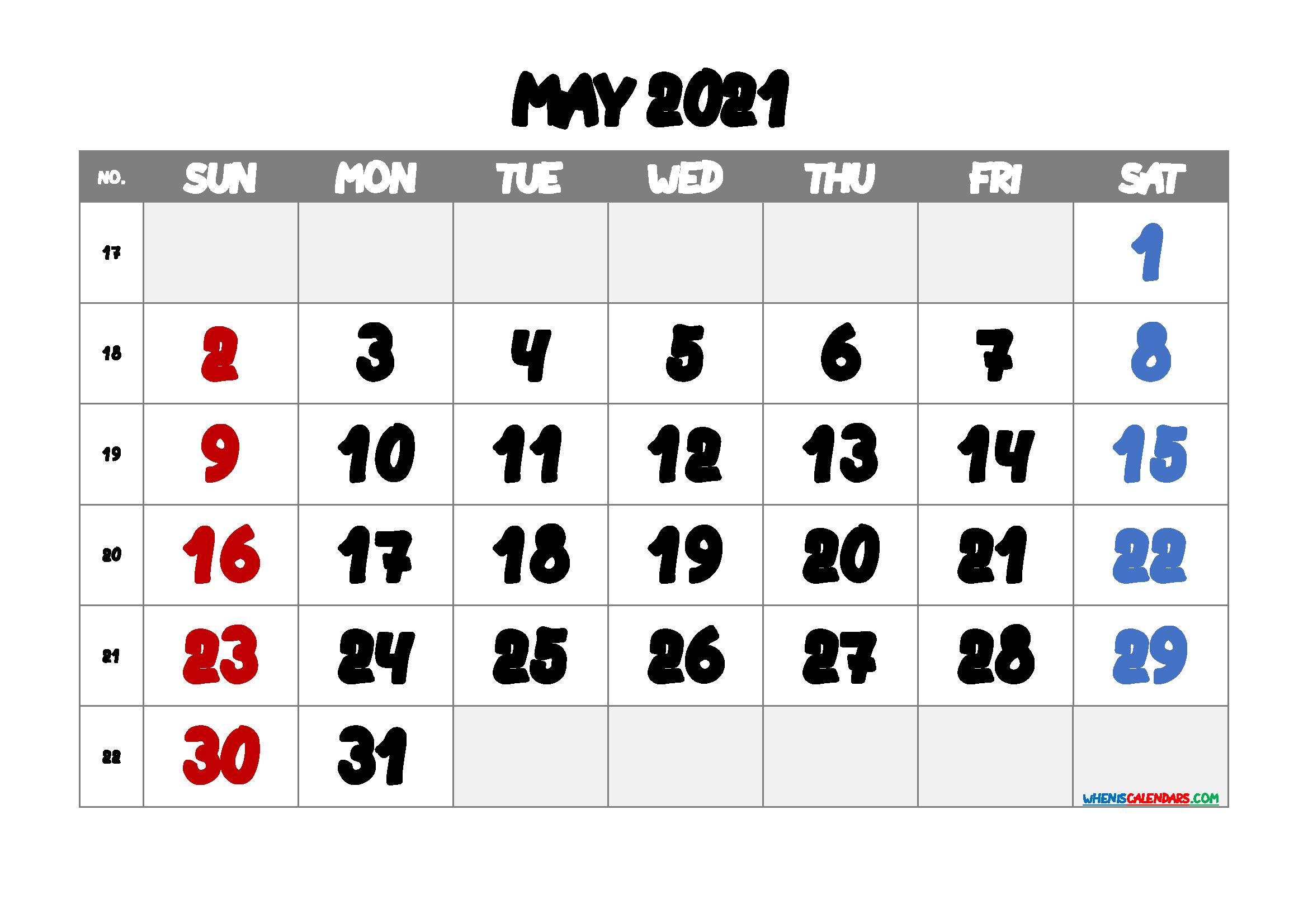 Printable May 2021 Calendar Free