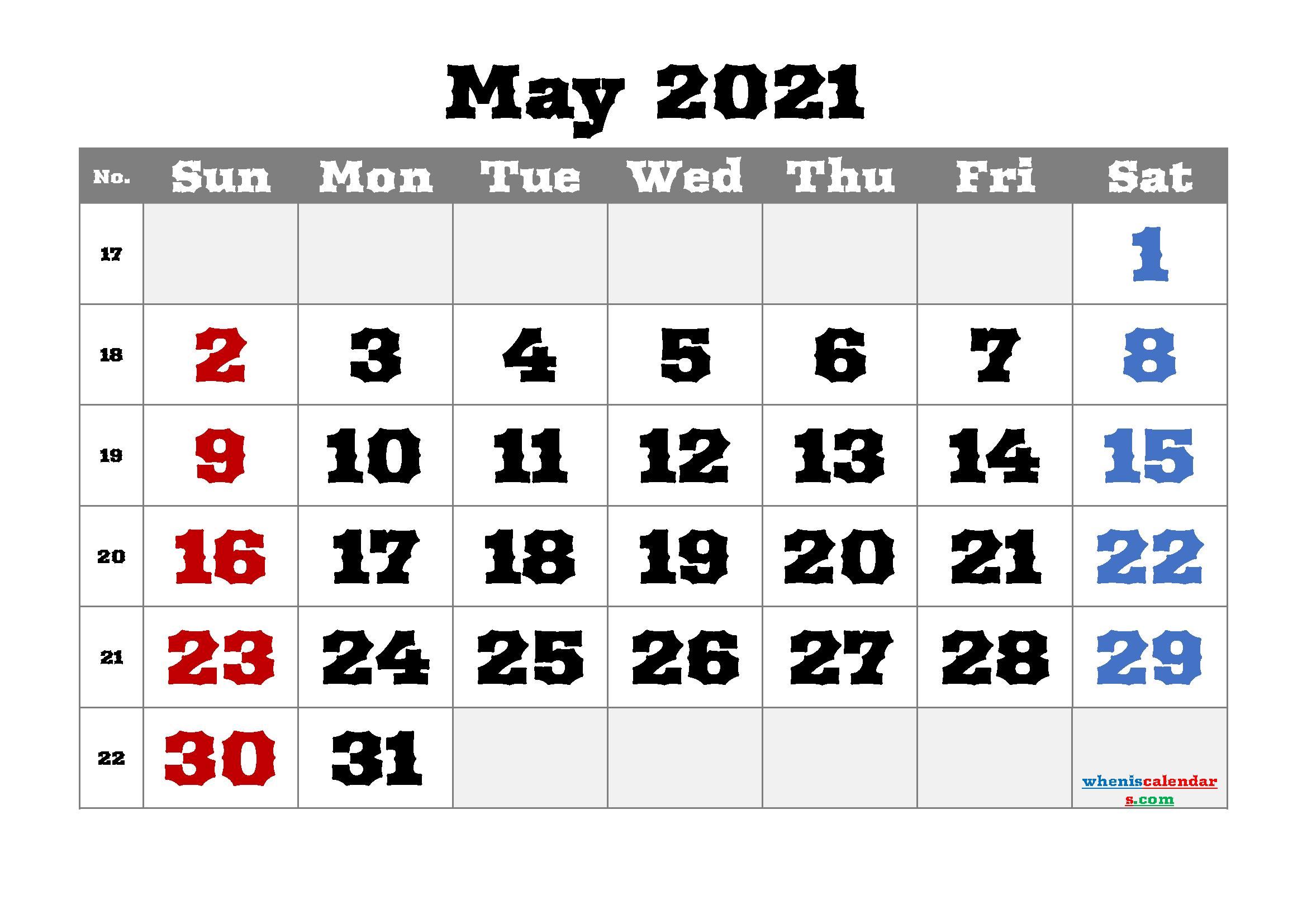 Free Editable May 2021 Calendar