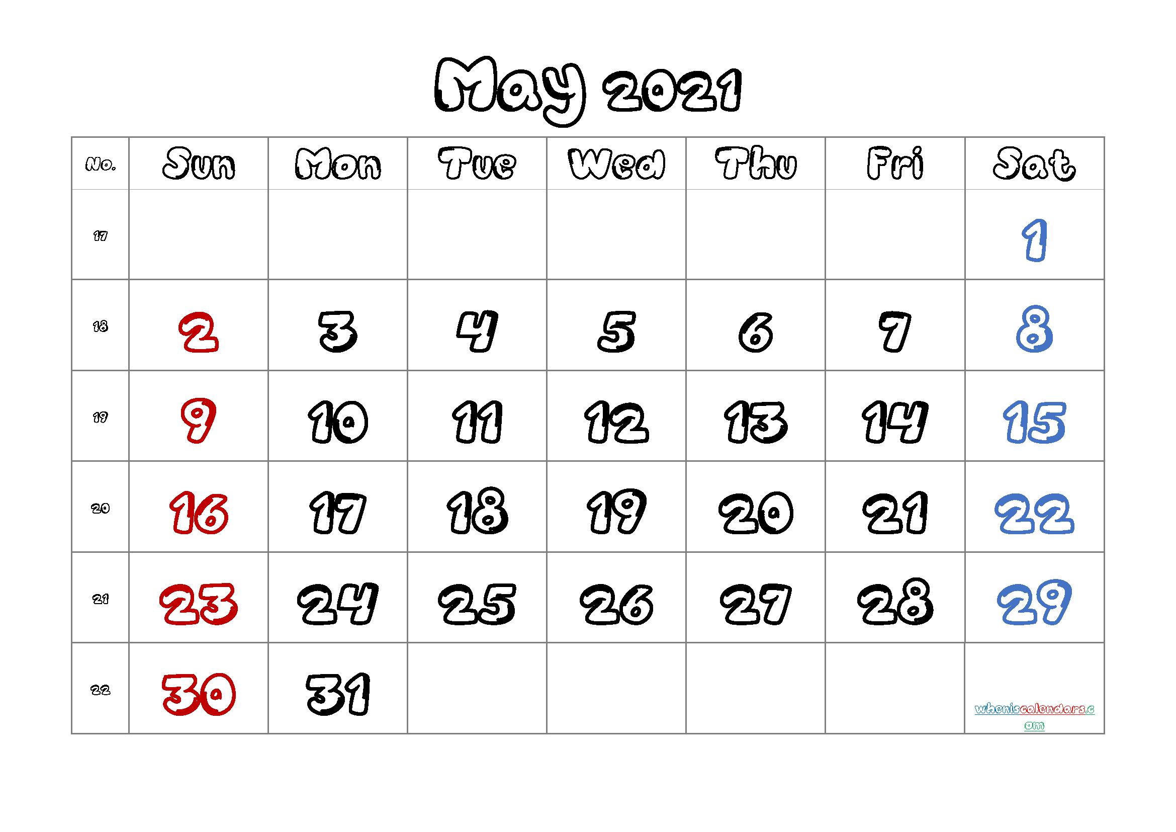 Calendar May 2021 Printable Free