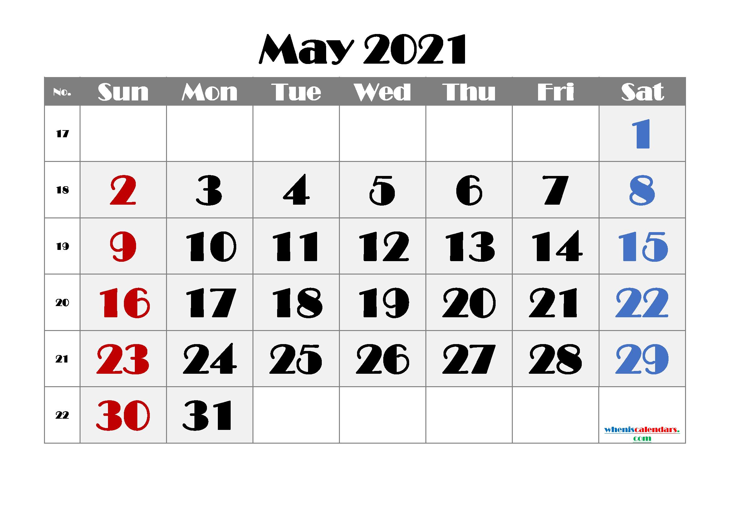 Printable May 2021 Calendar