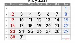 Editable May 2021 Calendar