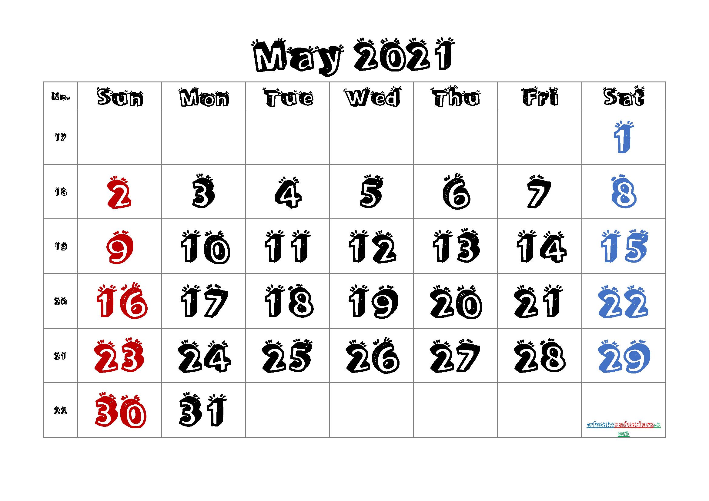Free Printable 2021 Calendar