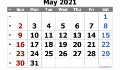 Calendar May 2021 Free Printable