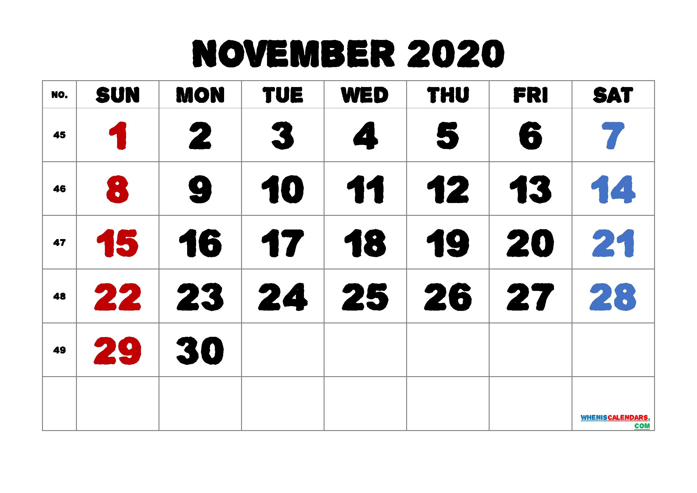 Printable November 2020 Calendar for Free
