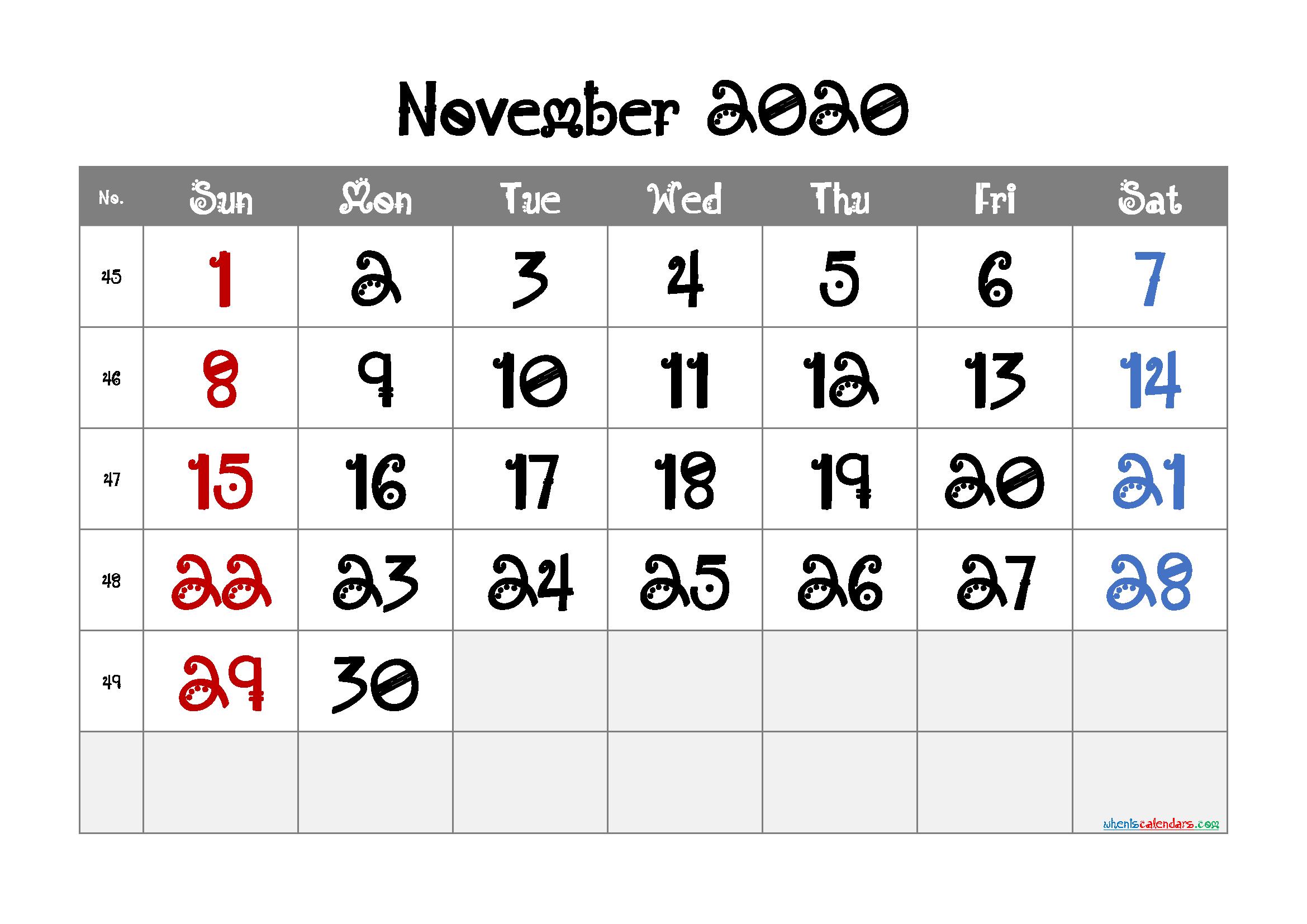 November 2020 Printable Calendar Free