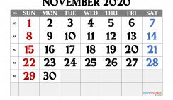 Free November 2020 Calendar Printable