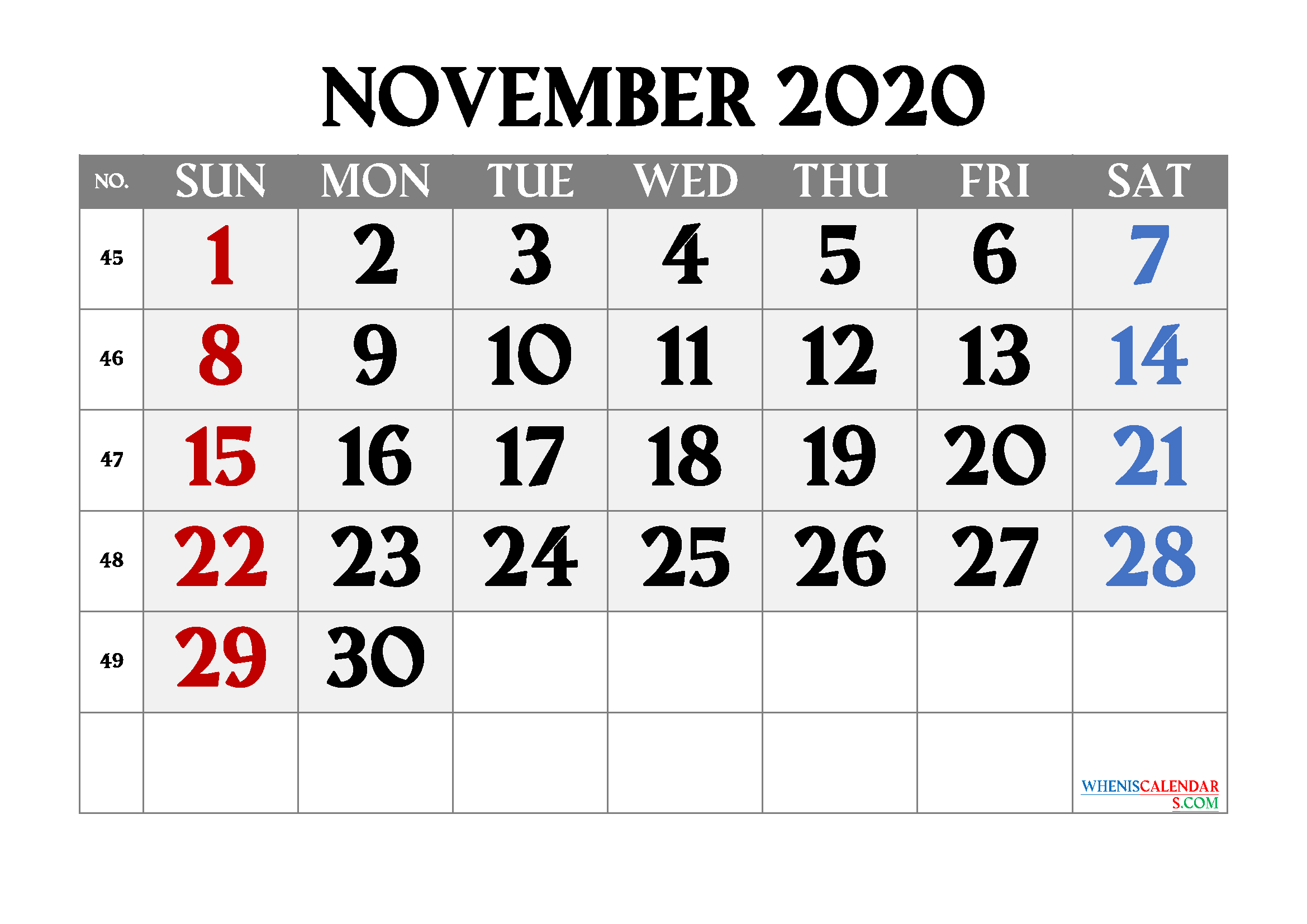 Editable November 2020 Calendar Free