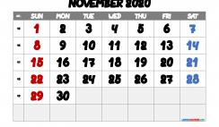November 2020 Calendar Printable Free