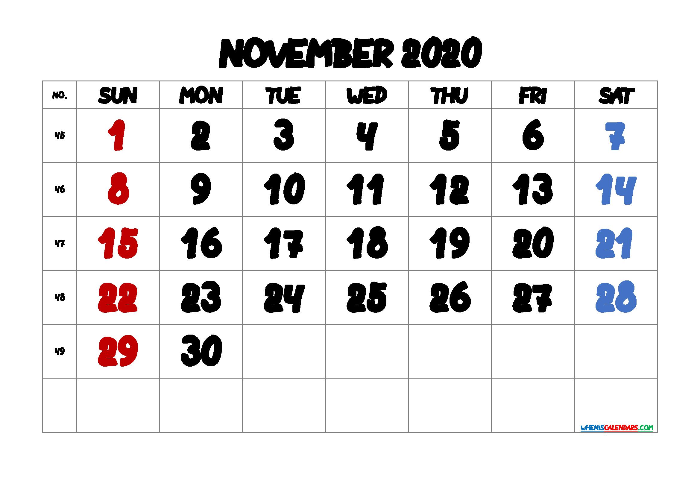 Calendar November 2020 Printable Free
