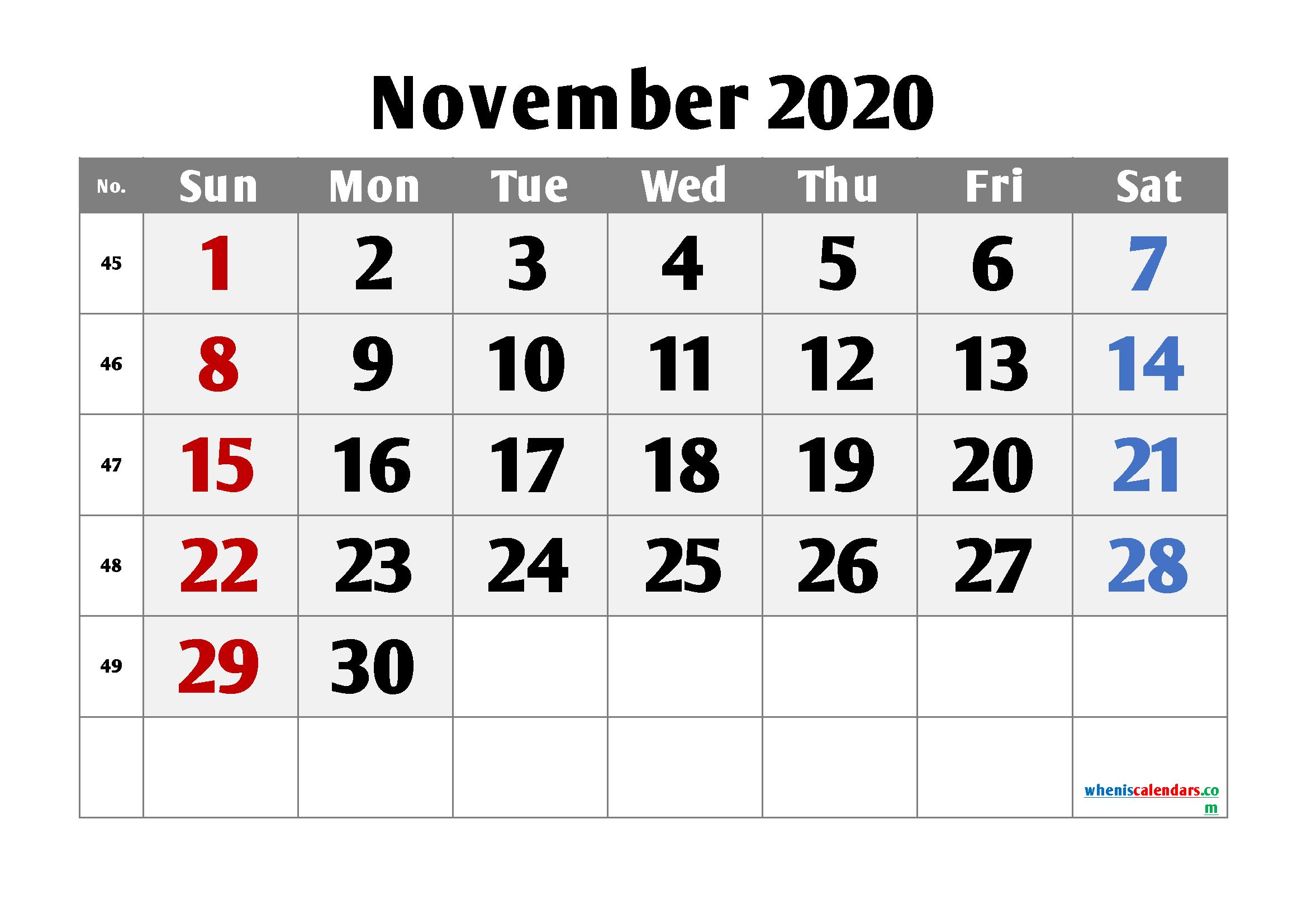 Free Calendar November 2020 Printable