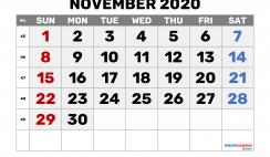 Printable November 2020 Calendar Free