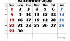 Editable November 2020 Calendar
