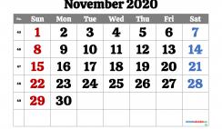 Free Printable November 2020 Calendar