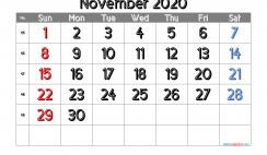 Calendar November 2020 Free Printable