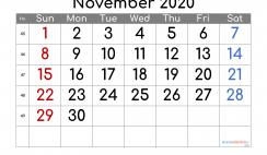 Printable November 2020 Calendar PDF