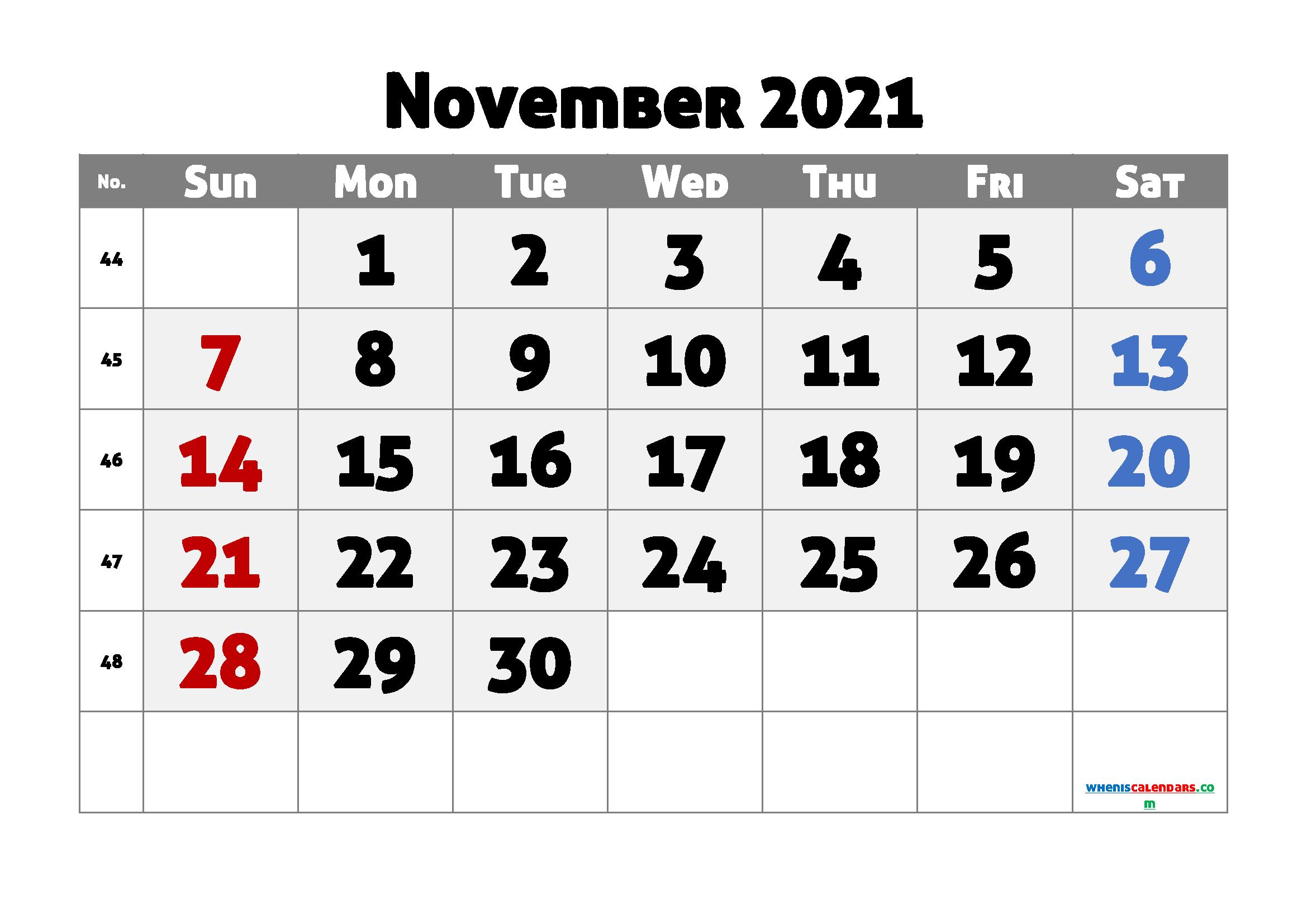 Editable Printable November 2021 Calendar