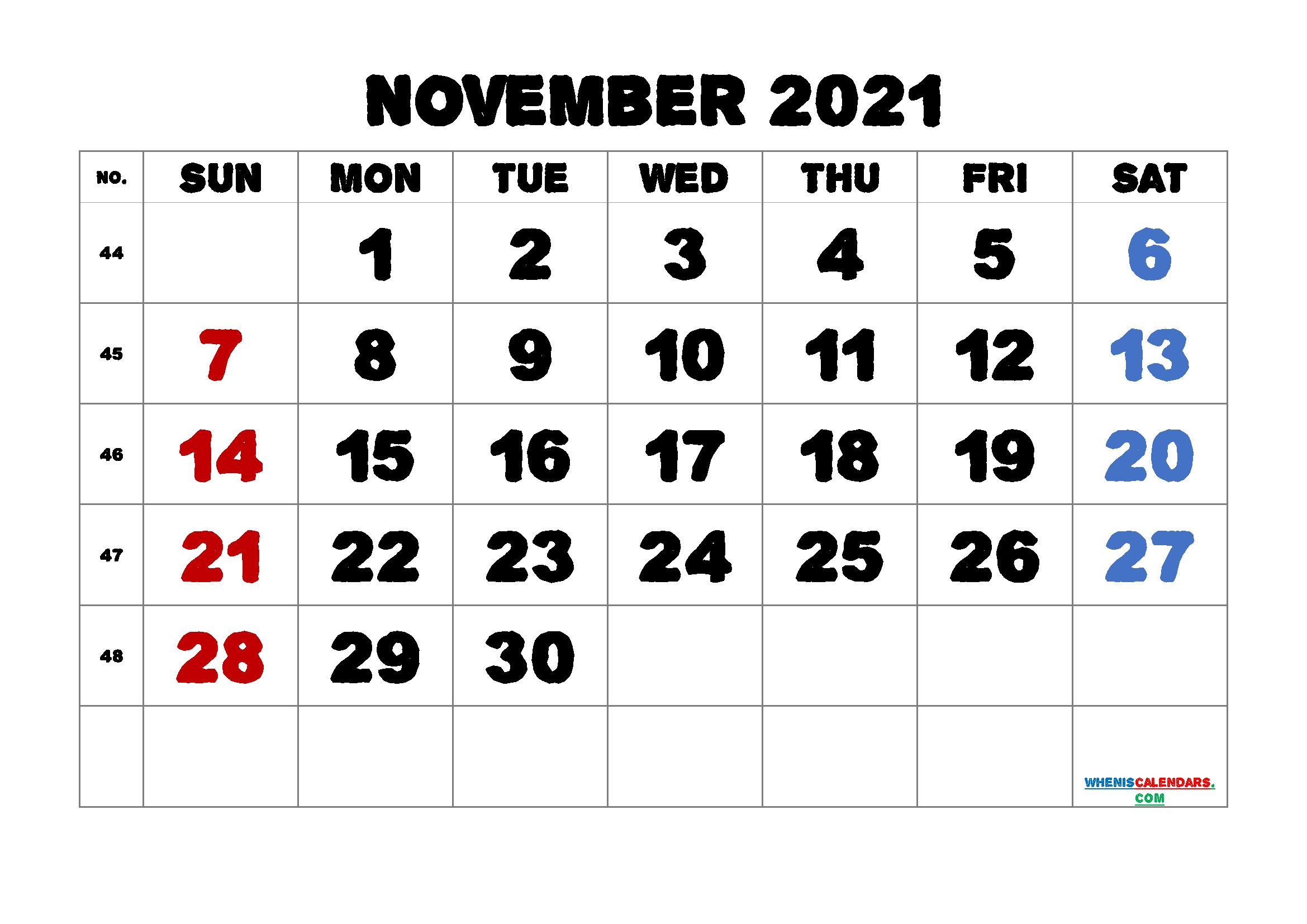 Printable November 2021 Calendar