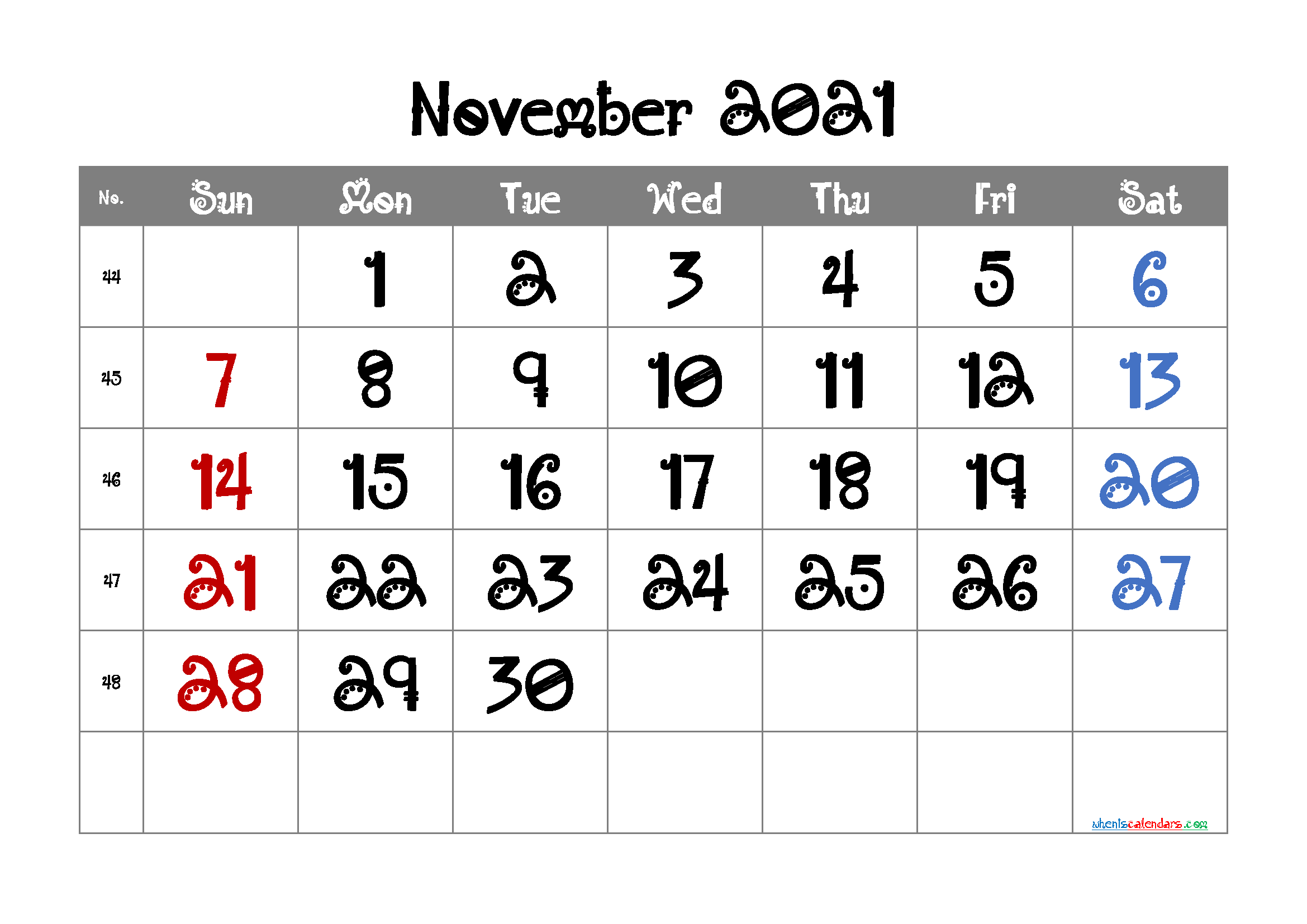 Editable November 2021 Calendar Free