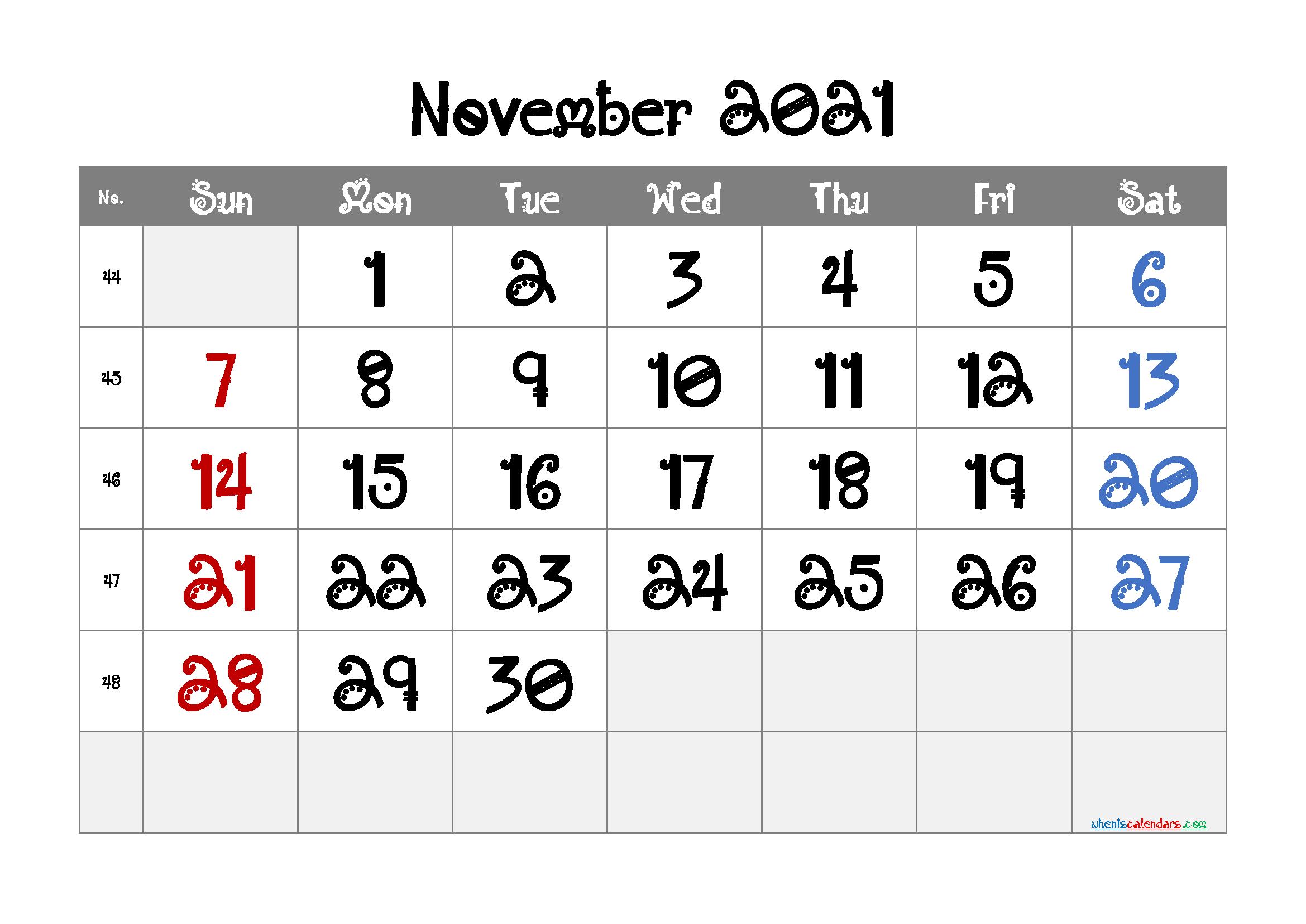 Printable November 2021 Calendar for Free