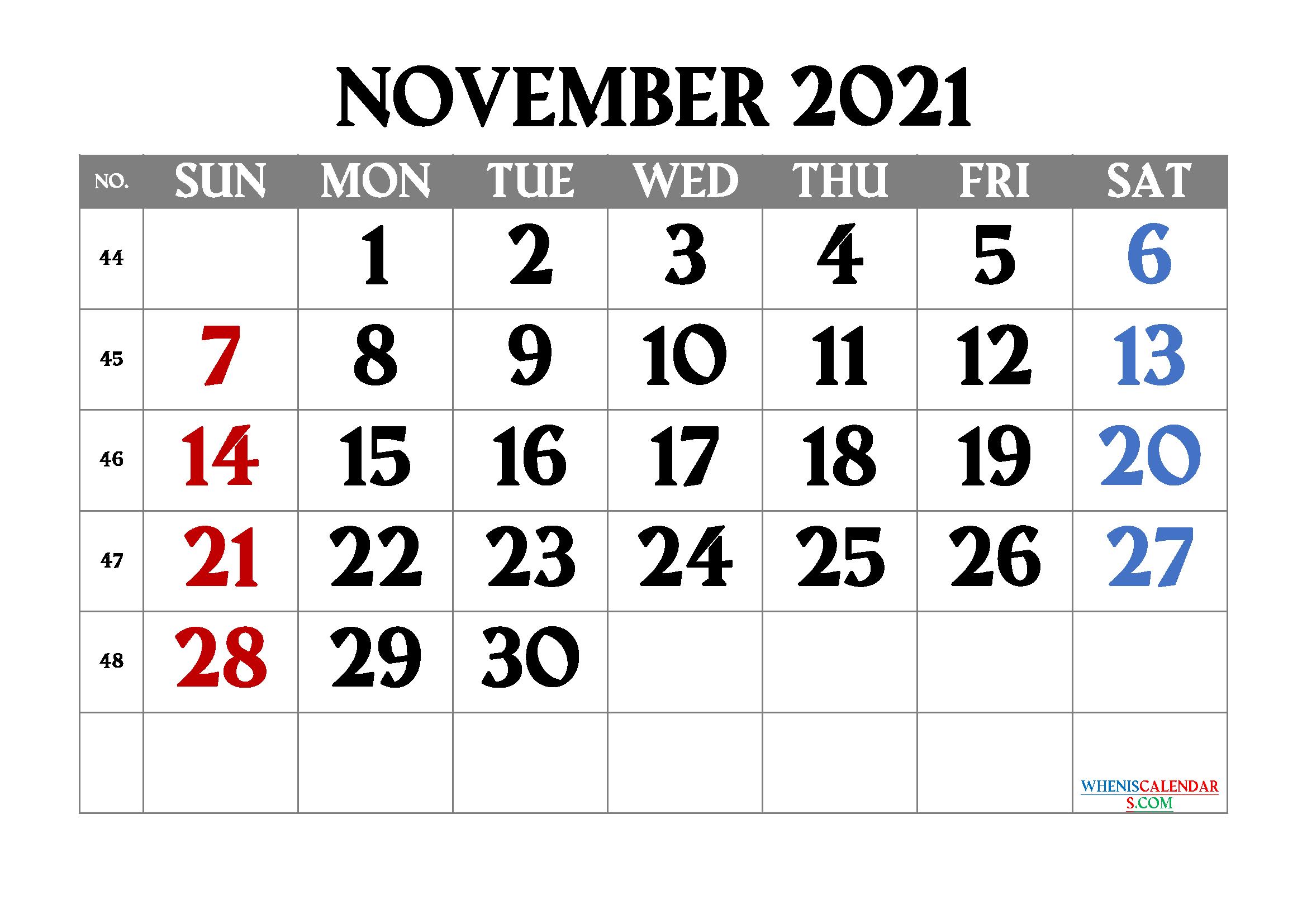 Free Printable November 2021 Calendar | Template ...