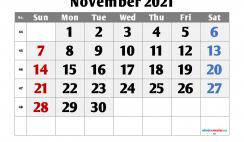 Free Calendar November 2021 Printable