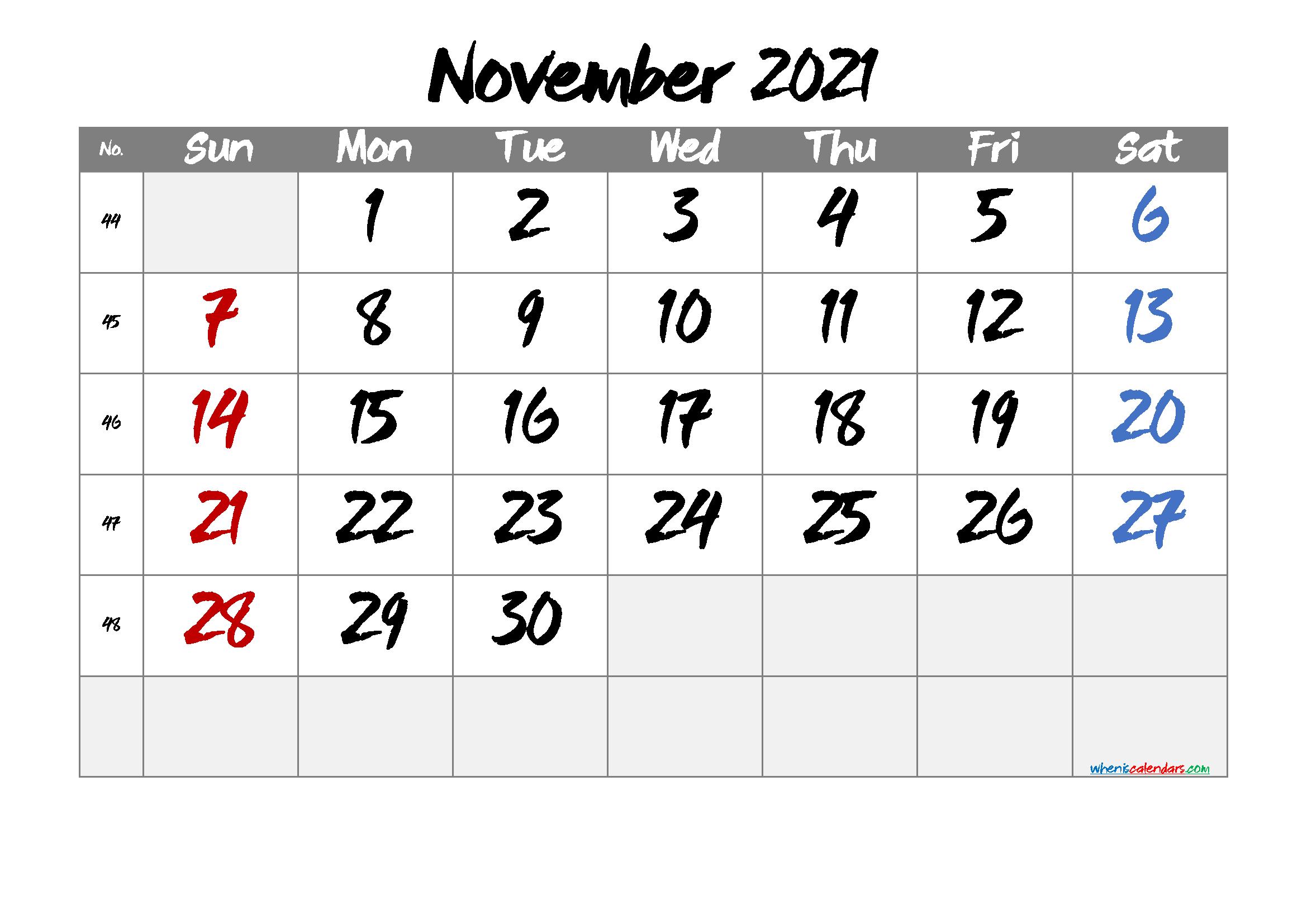 Printable November 2021 Calendar Free