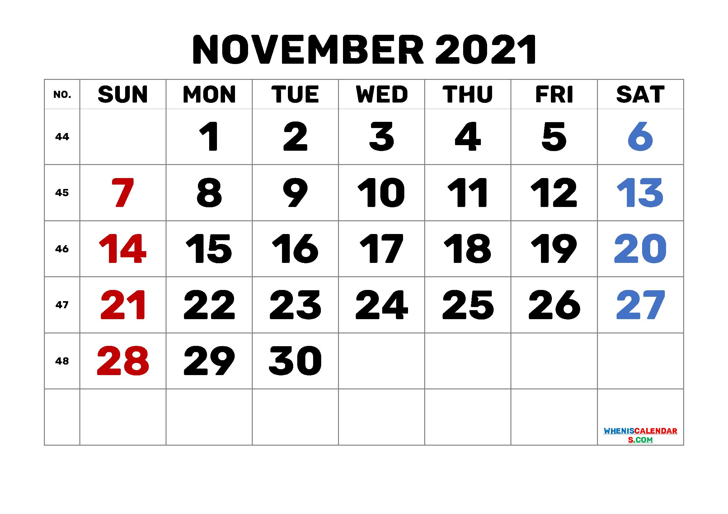 Calendar November 2021 Printable Free