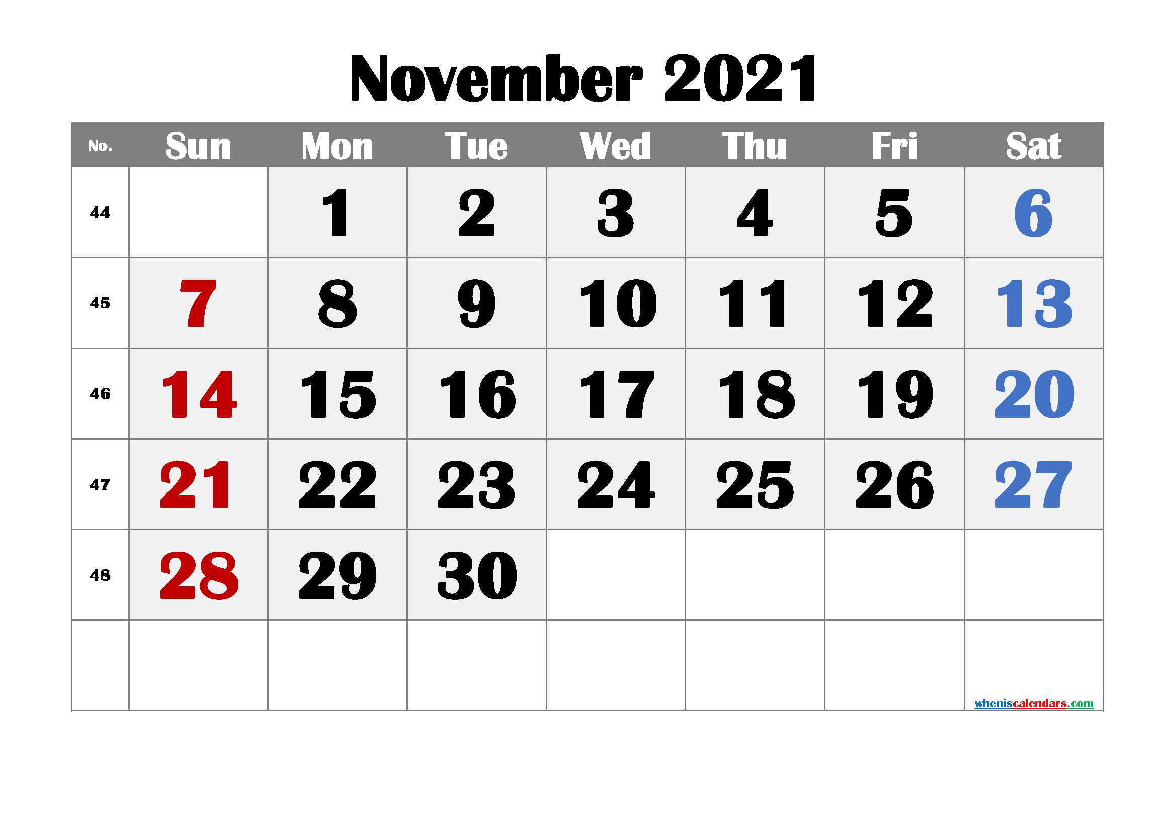 Editable November 2021 Calendar