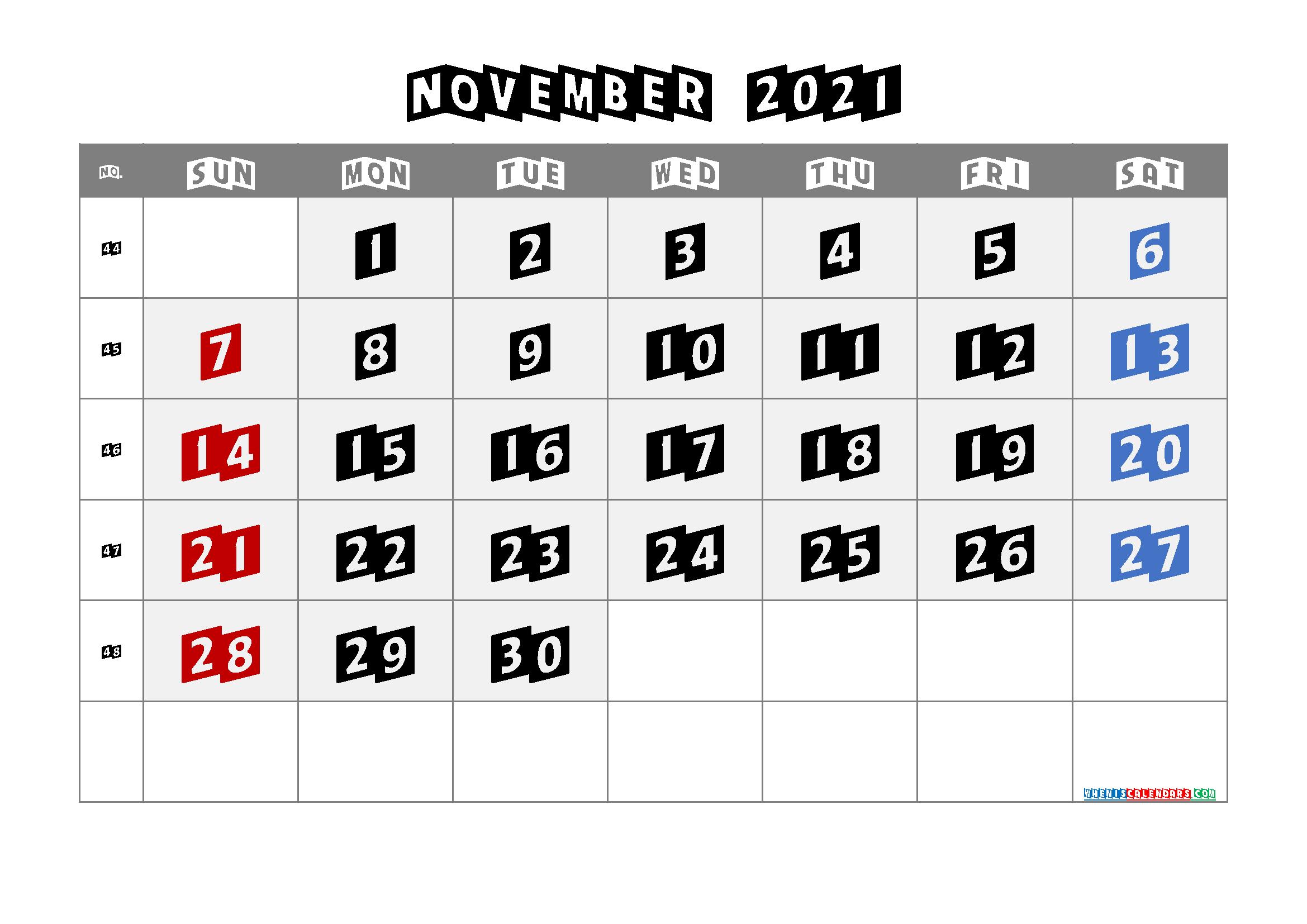 Free Printable Calendar November 2021 2022 and 2023