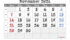 Printable November 2021 Calendar PDF
