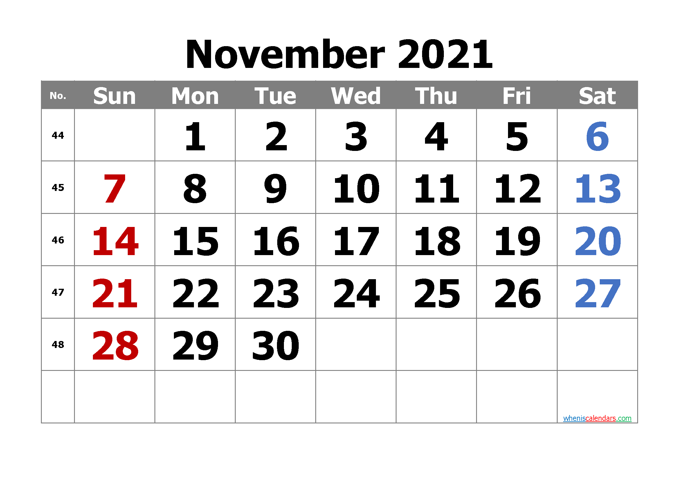 Calendar November 2021 Free Printable