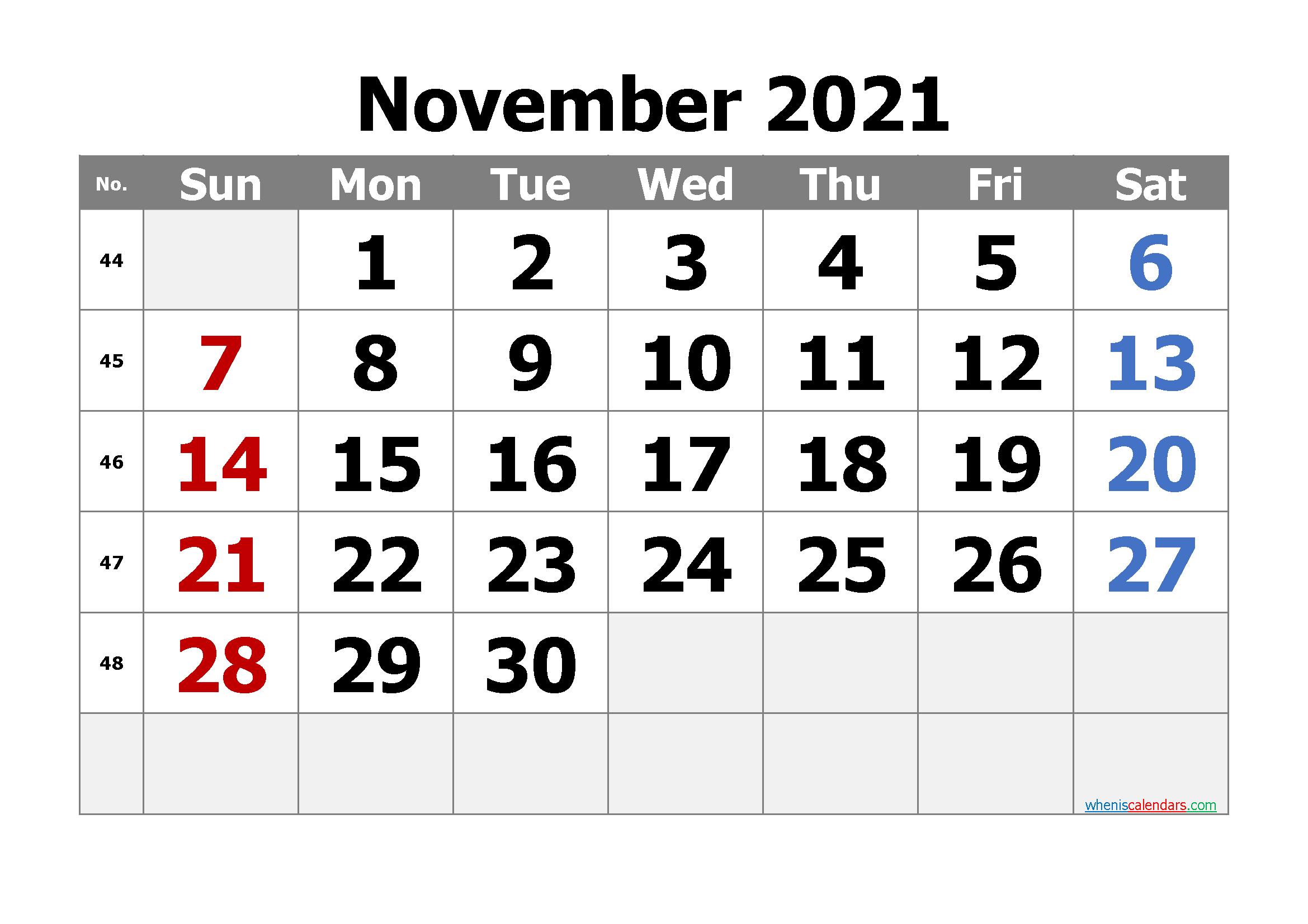 Free Editable November 2021 Calendar