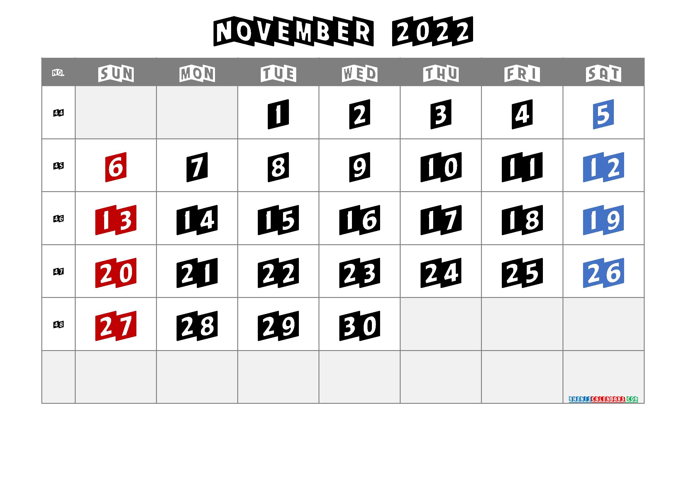 Printable November 2022 Calendar Free