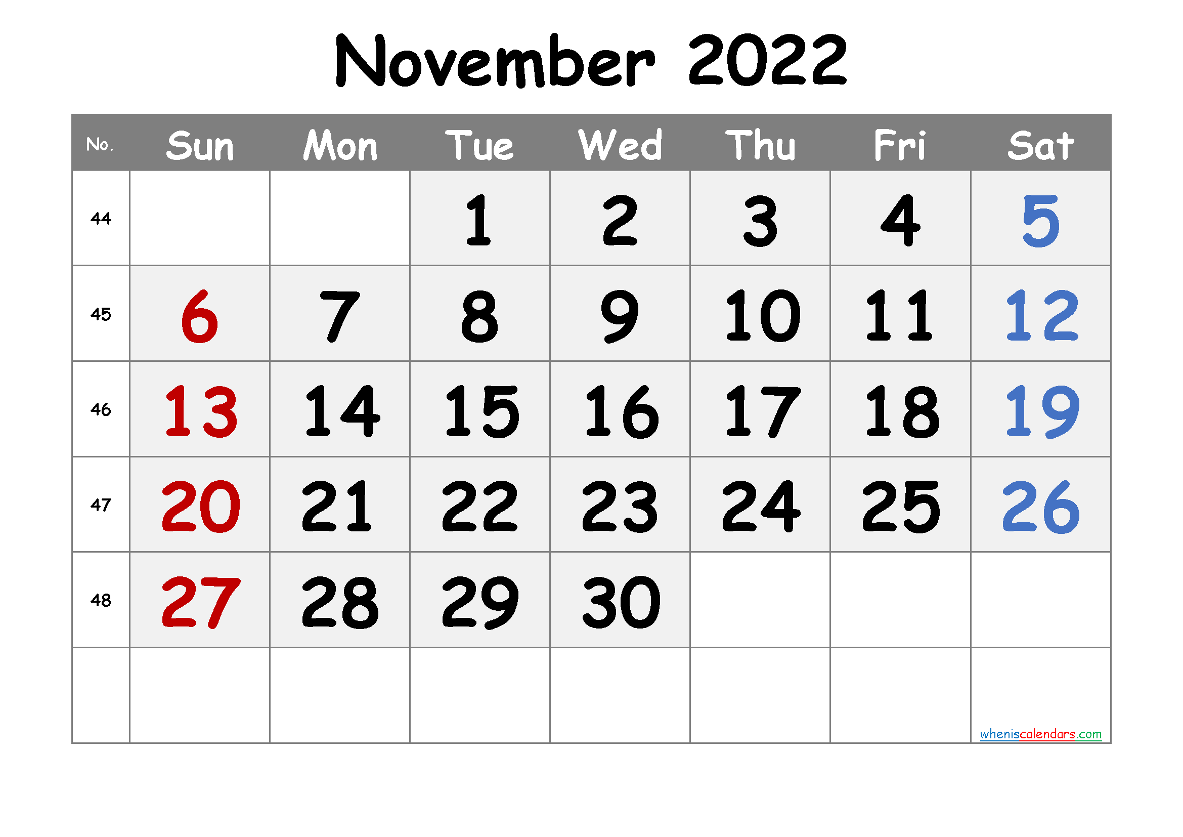 Free Printable November 2022 Calendar